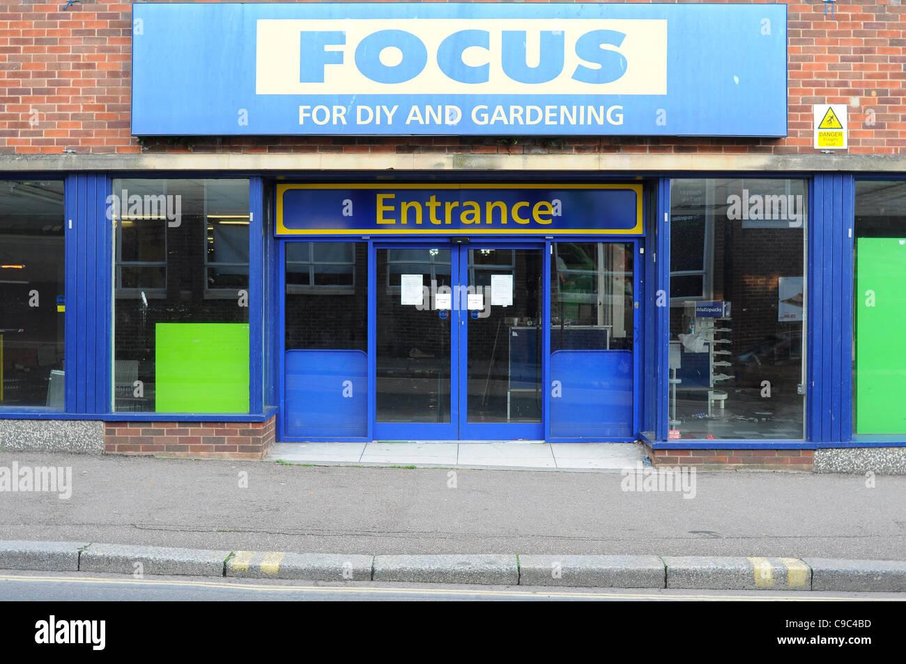 In bancarotta Focus DIY negozio chiuso. Immagini Stock