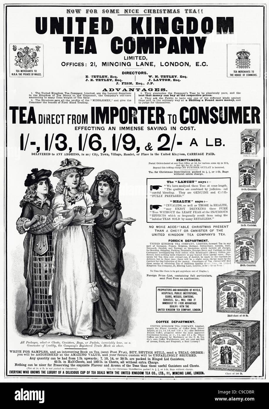 Victorian piena pagina di pubblicità per il Regno Unito The Company Limited circa 1892 Foto Stock