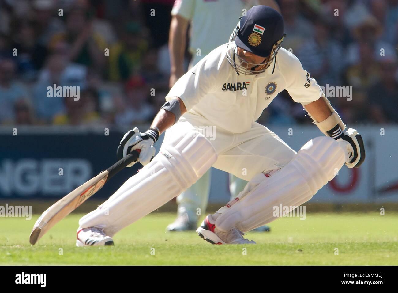 26.01.2012 Adelaide, Australia. Sachin Tendulkar India in azione durante il secondo giorno del quarto cricket test Immagini Stock