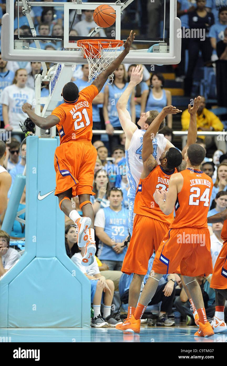Febbraio 18, 2012 - Chapel Hill, North Carolina, Stati Uniti d'America - BRYAN NARCISSE (21) del Clemson Tigers Immagini Stock