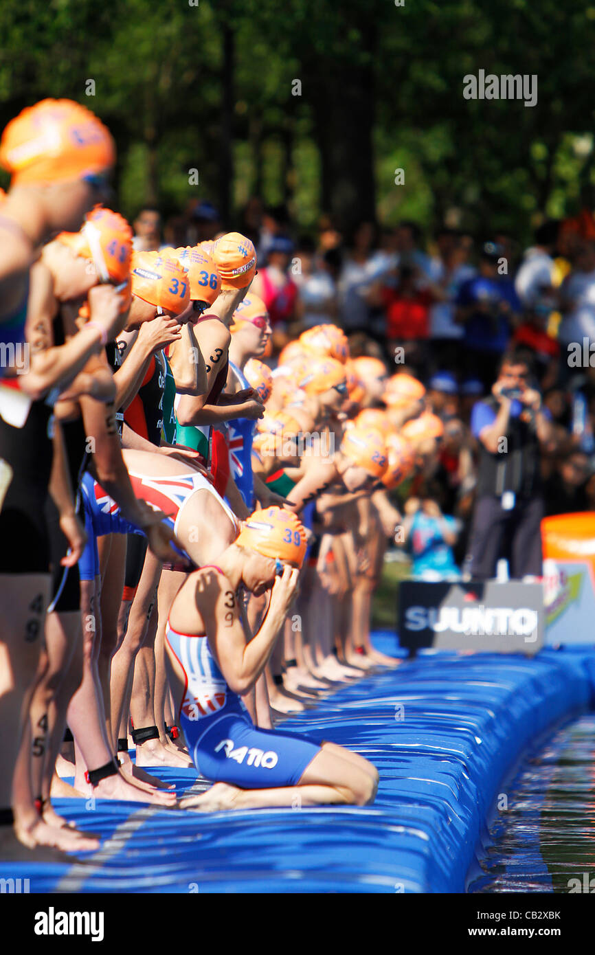 ITU Triathlon World Series - Campeonato del mundo de triatlon ; Casa de Campo, Madrid - Donne Elite Series - atleti Foto Stock