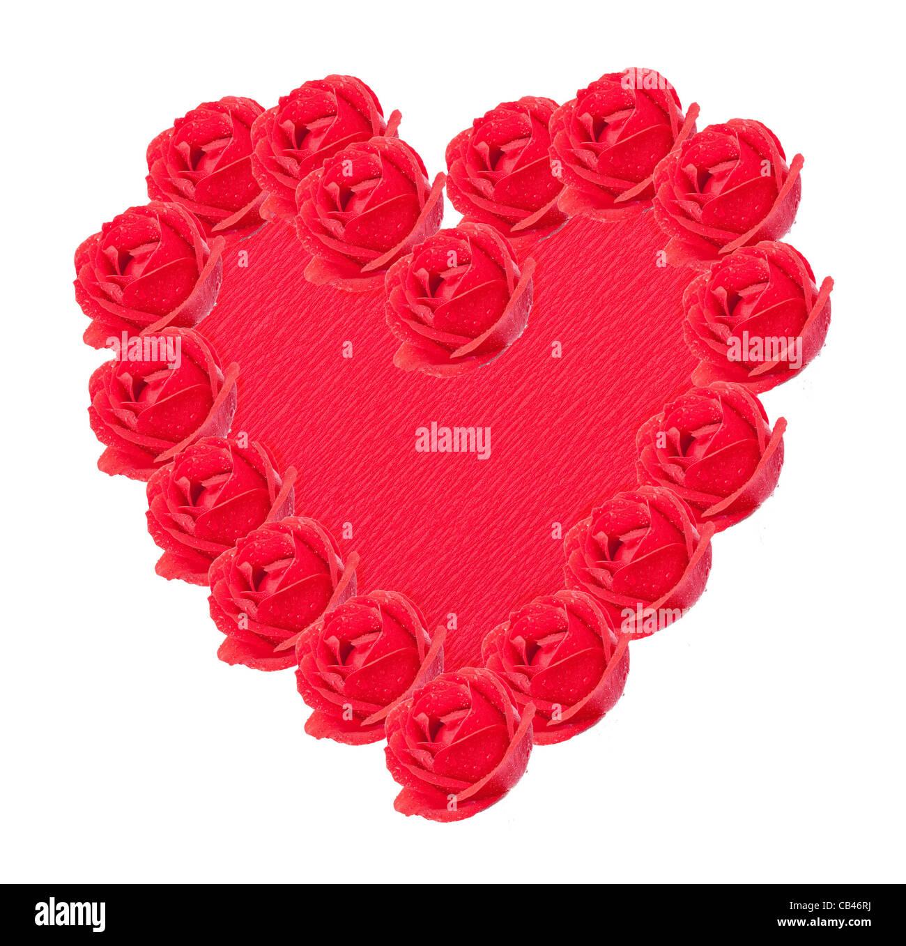 Cuore rosso con rose Immagini Stock