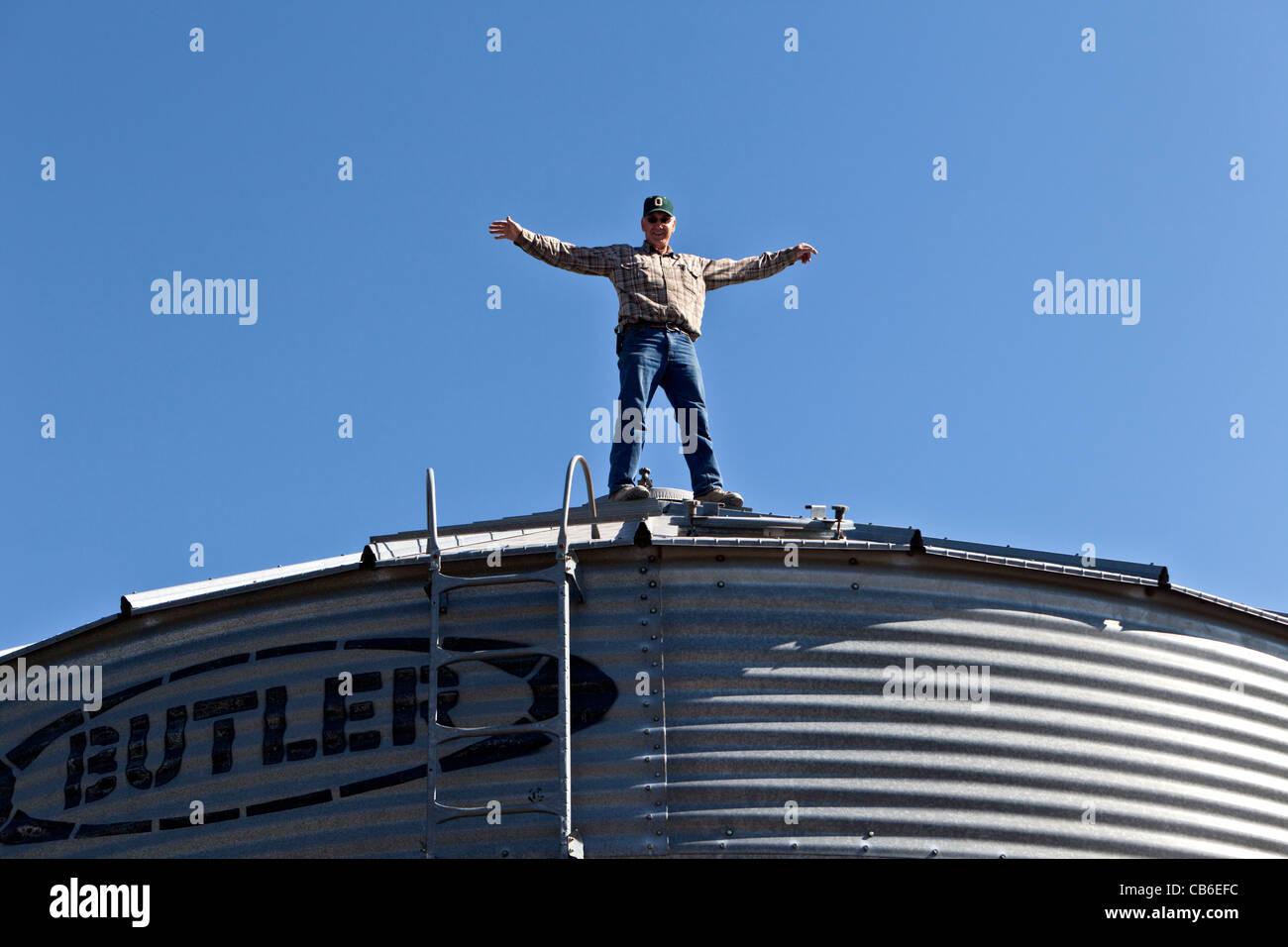 Coltivatore di grano in piedi sul tetto, stoccaggio granella bin. Immagini Stock