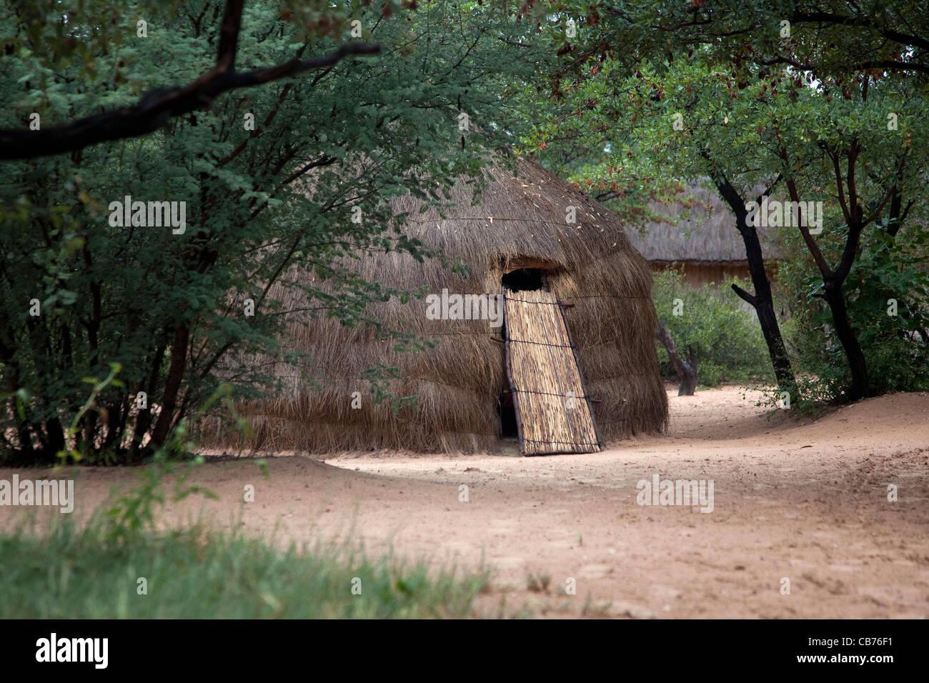 Boscimani tradizionale / San rifugio nel deserto del Kalahari vicino a Ghanzi, Botswana, Africa Immagini Stock