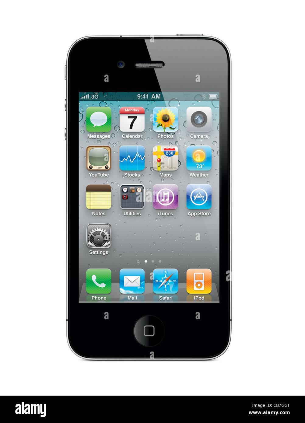 Apple Iphone 4 Con Le Icone Del Desktop Isolati Su Sfondo Bianco