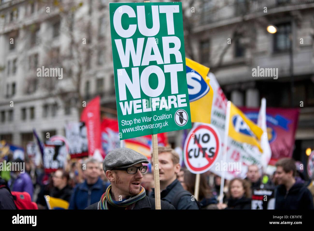 Settore pubblico sciopero (sindacati) Londra, Inghilterra, 2011 Immagini Stock