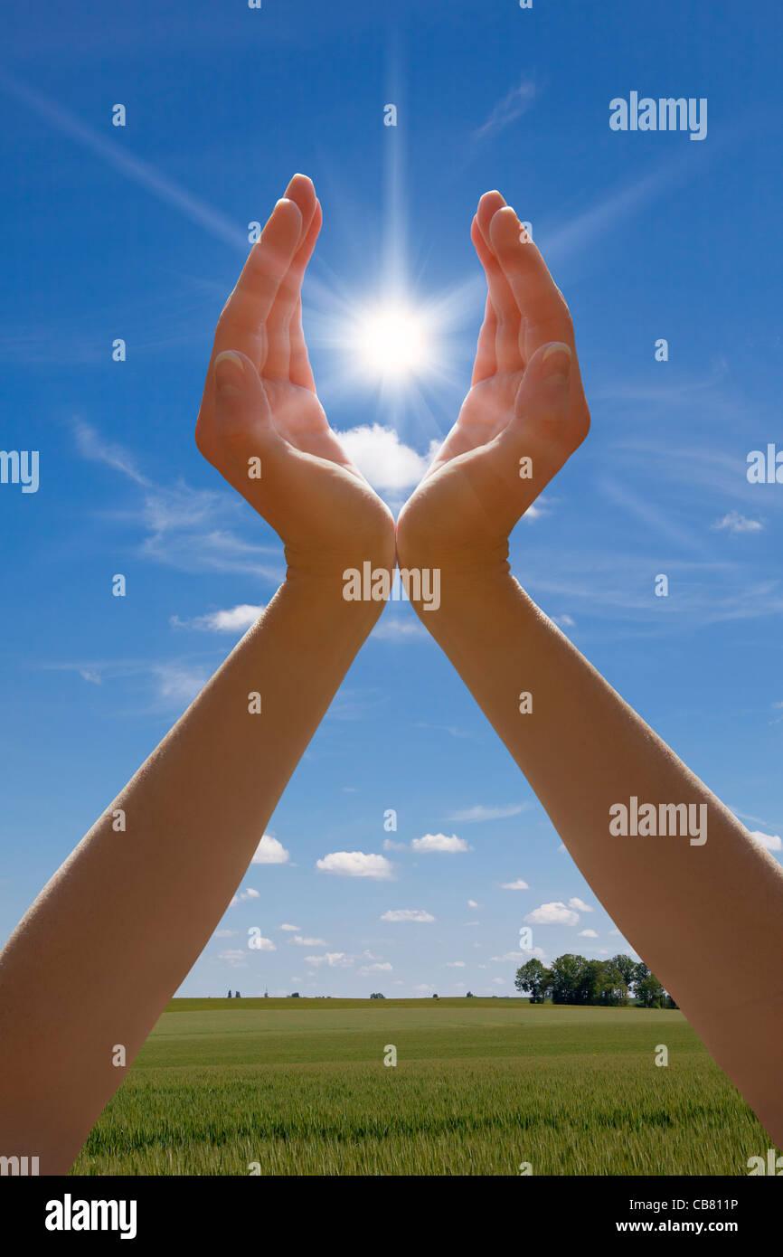 Mani tenendo sun Foto Stock