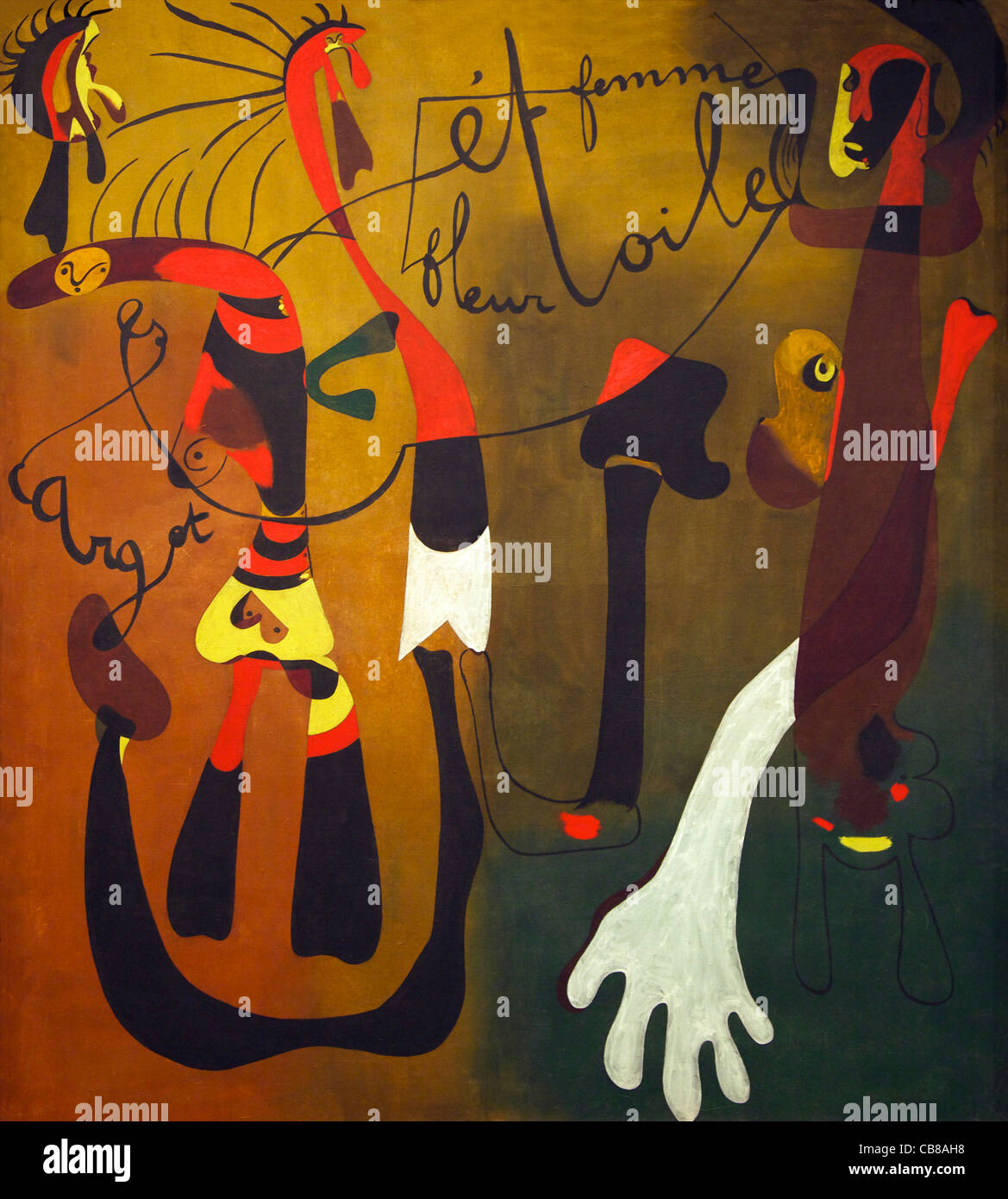 Pittura (lumaca, donna, fiore, stella), Joan Miro, 1934, Museo Nacional Centro de Arte Reina sofía, Museo Reina Immagini Stock