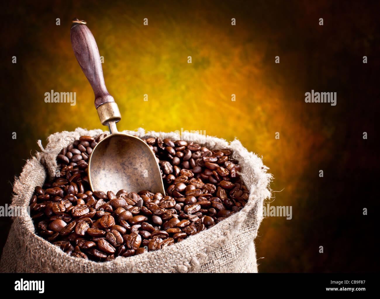 Sacco di chicchi di caffè e scoop. Su uno sfondo scuro. Immagini Stock