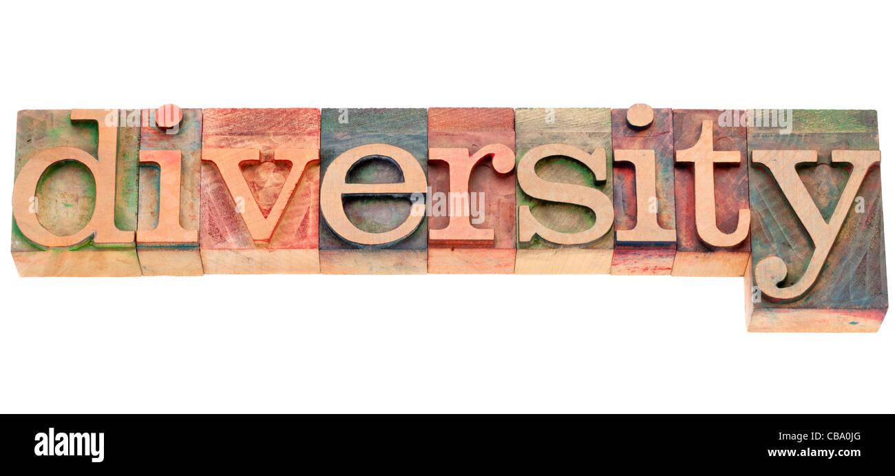La diversità - parola isolata in legno vintage tipografia blocchi Immagini Stock