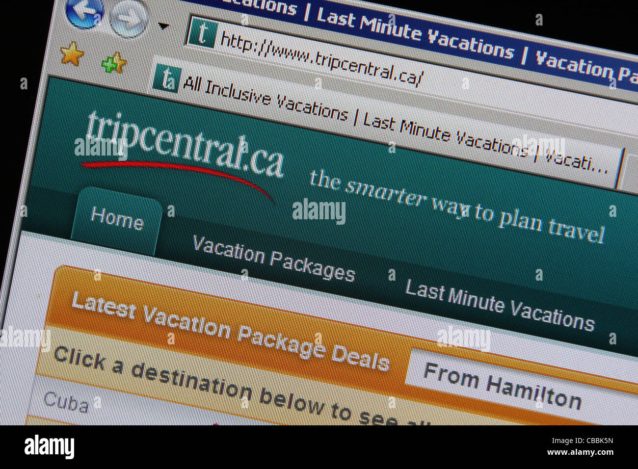Tripcentral tripcentral.ca online travel website Immagini Stock
