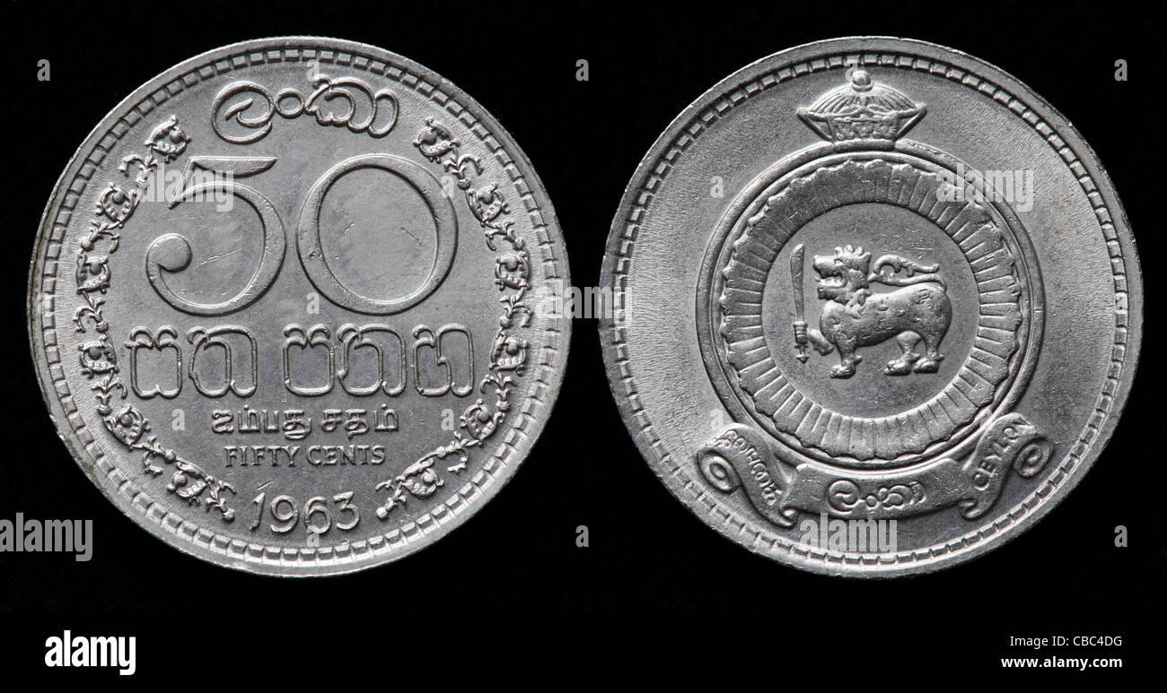 50 centesimi moneta sri lanka 1963 foto immagine stock for Moneta 50 centesimi
