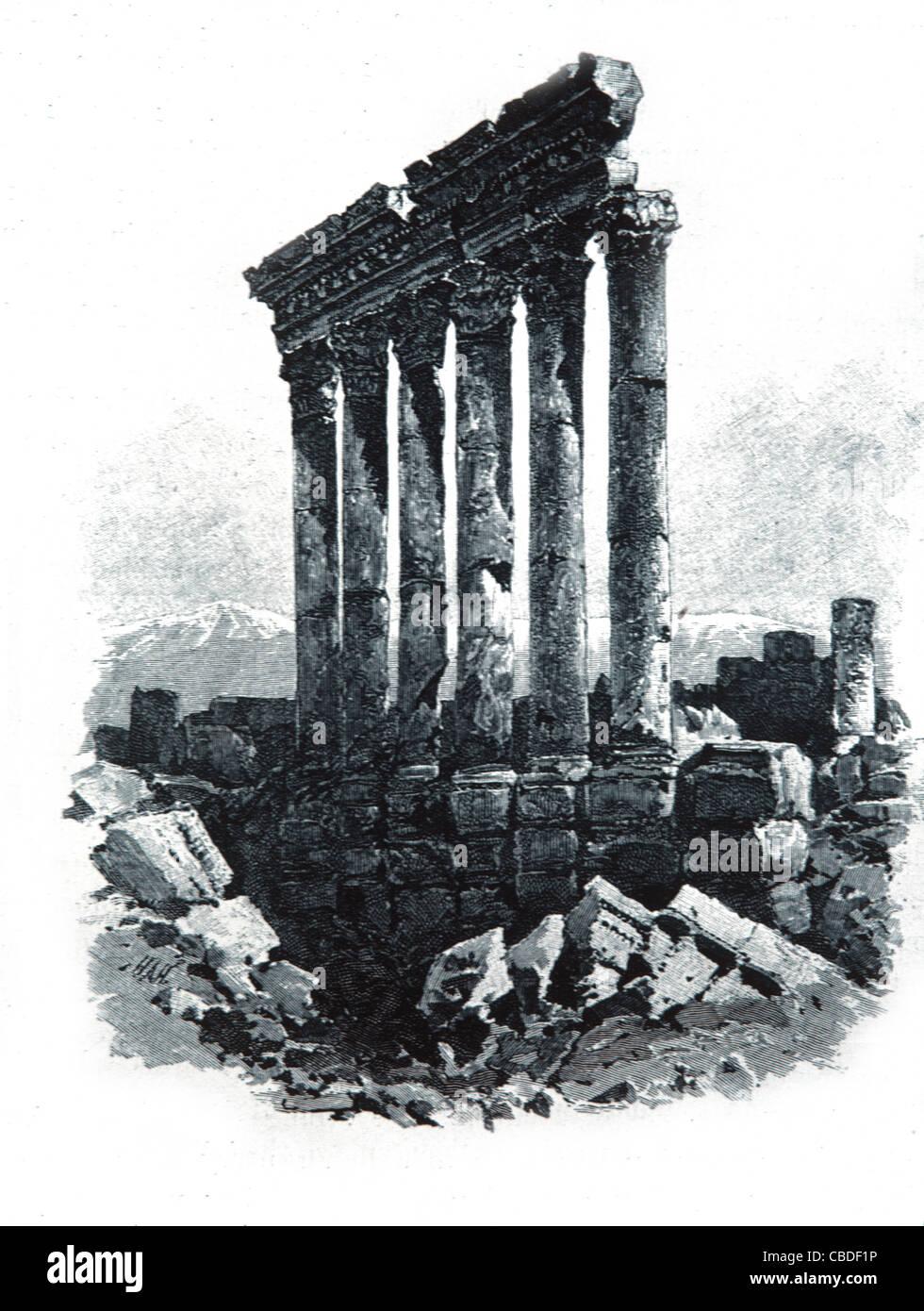 Tempio romano di Giove, Beqaa Valley, Baalbek, Libano. c incisione del XIX secolo. Immagini Stock
