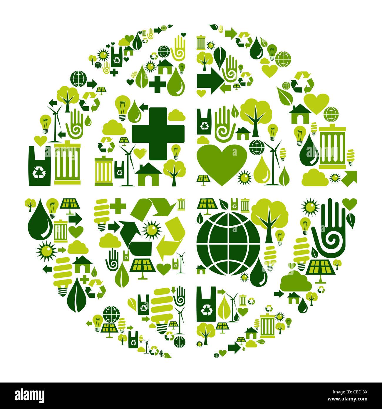 Il simbolo del mondo dei social media con icone ambientali. Immagini Stock