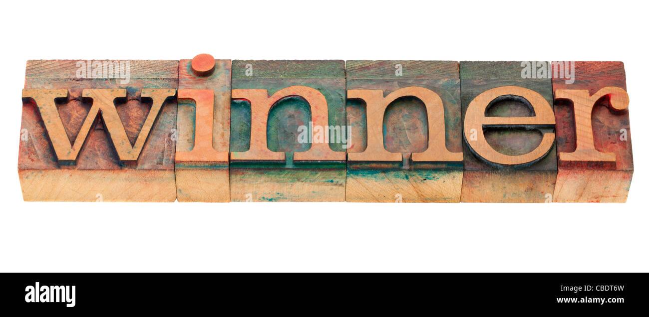 Vincitore - parola isolata in legno vintage tipografia blocchi Immagini Stock