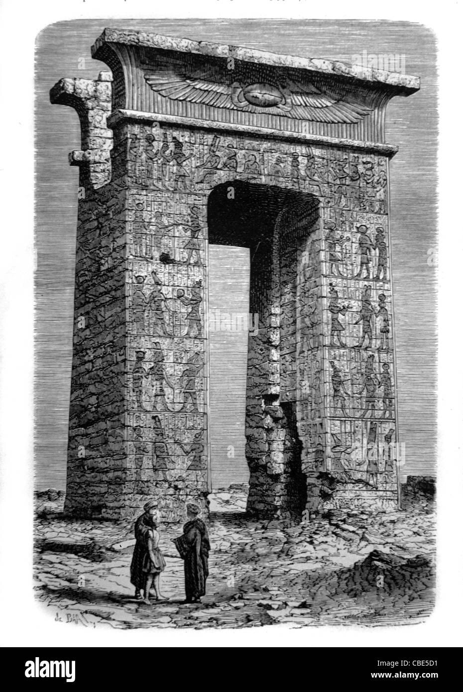 Tempio di Karnak, Egitto. c incisione del XIX secolo Immagini Stock