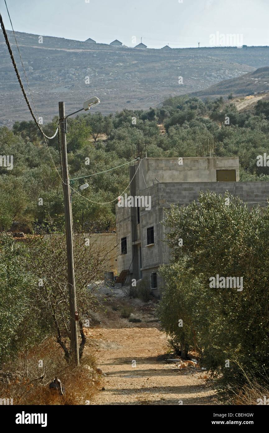 La marcatura dei coloni israeliani durante i loro passaggi violenti nei villaggi palestinesi., la colonia israeliana, Immagini Stock