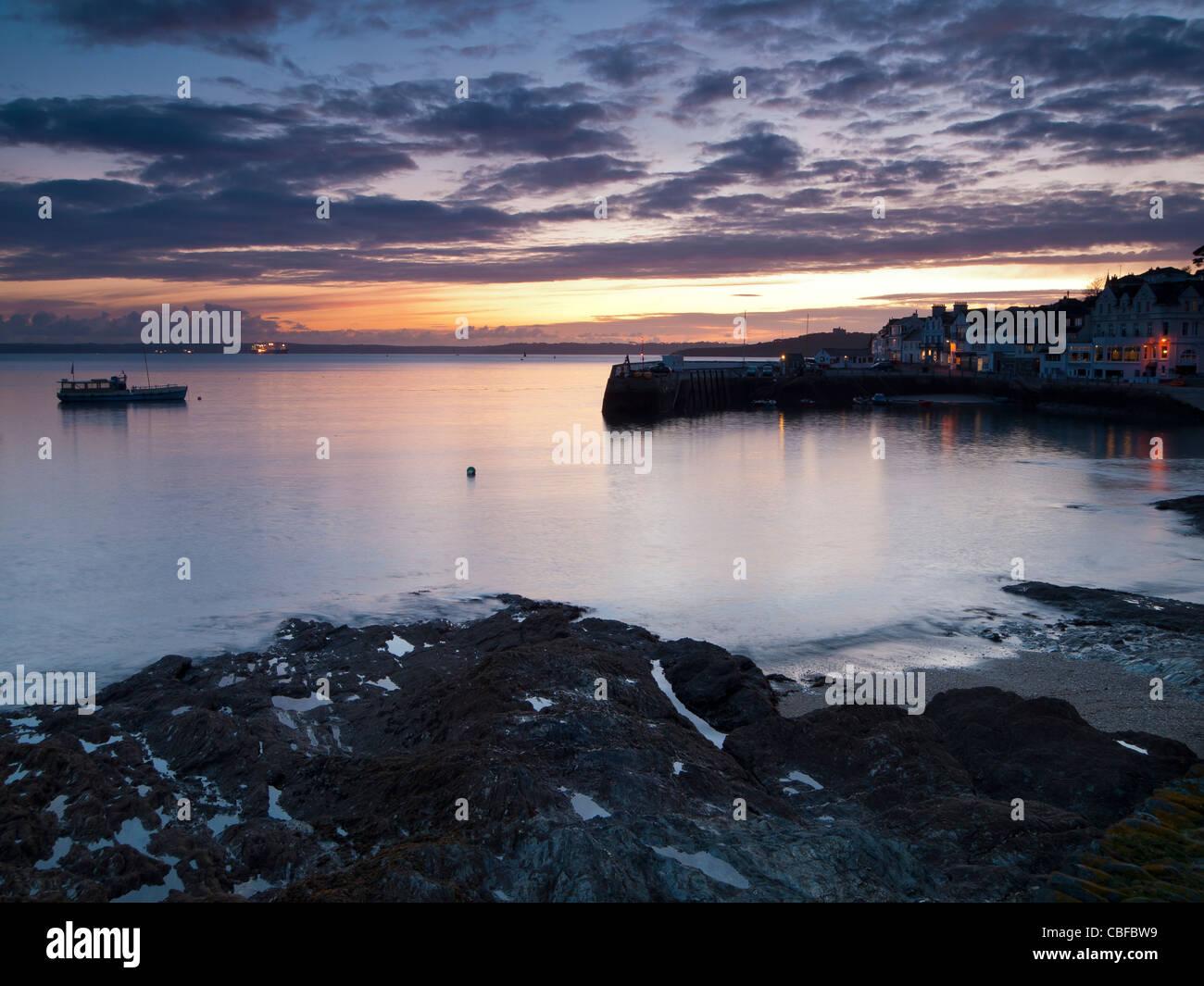 Tramonto a St Mawes Cornwall Inghilterra REGNO UNITO Immagini Stock
