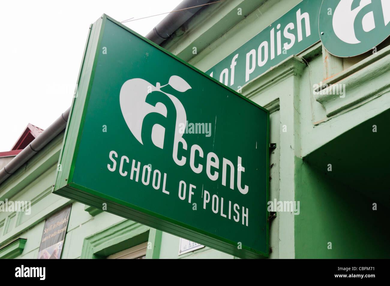 Scuola di accento del polacco, per i residenti stranieri che desiderano imparare il polacco Immagini Stock