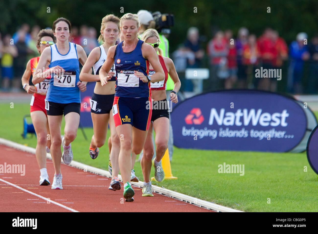 Atletica, Natwest Island Giochi, Sandown High School, pista e sul campo, Sandown, Isle of Wight, England, Regno Immagini Stock