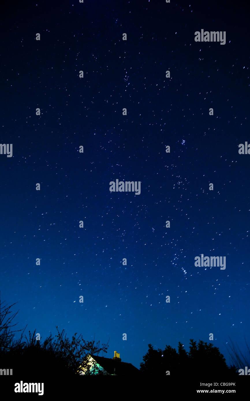Stelle, cielo notturno, Orion, Astronomia, Costellazione Gemini, Cowes, Isle of Wight, England, Regno Unito Immagini Stock