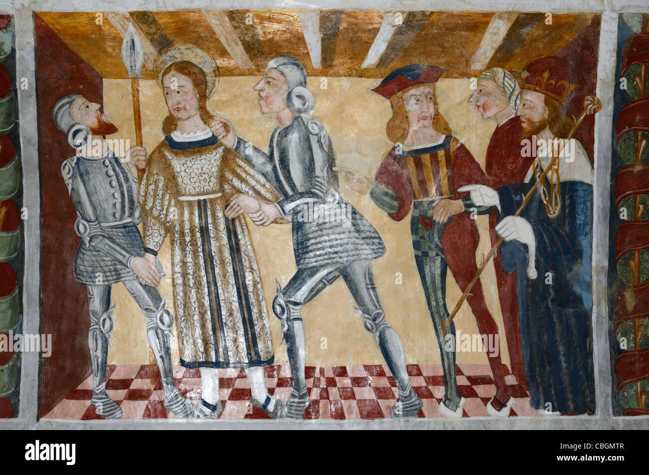 Arresto di San Sebastiano di soldati romani, pittura murale o affresco Cappella di San Sebastiano (1513), Roubion, Immagini Stock