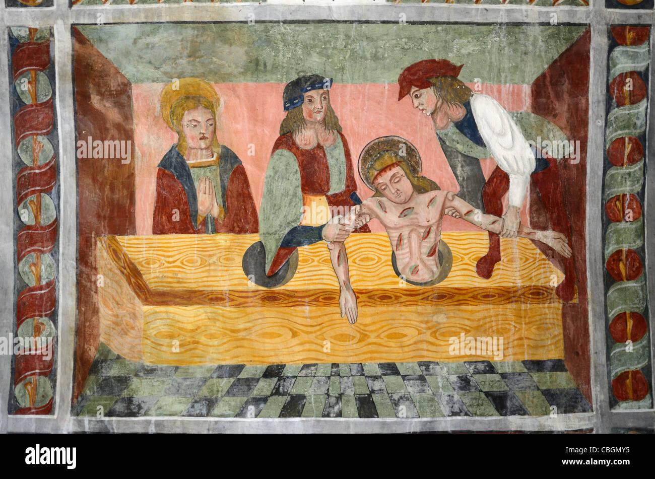 San Sebastian tirato da una fognatura, pittura murale o affresco Cappella di San Sebastiano (1513), Roubion, Alpes Immagini Stock