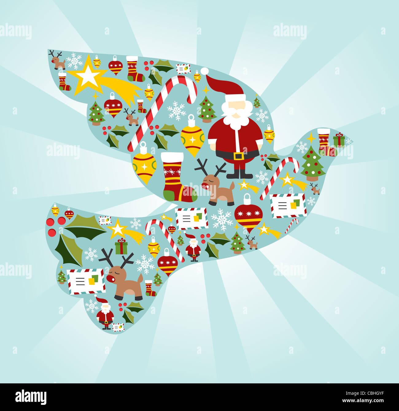 Christmas Icona impostare nella colomba della pace forma sfondo. File vettoriale disponibile. Immagini Stock