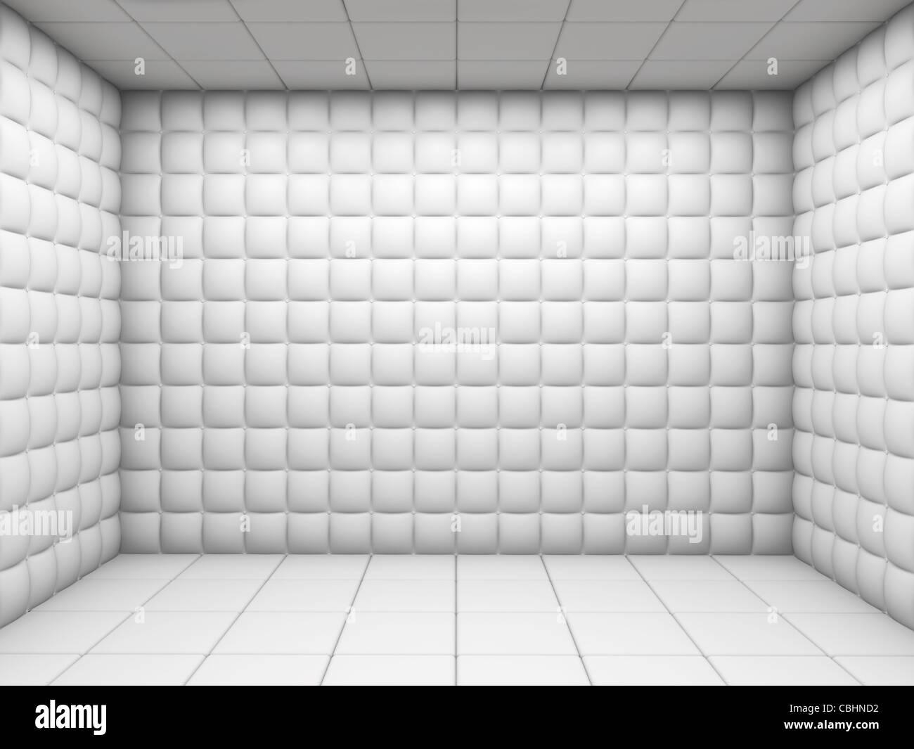 Bianco ospedale mentale camera imbottita vuota con lo spazio di copia Foto Stock