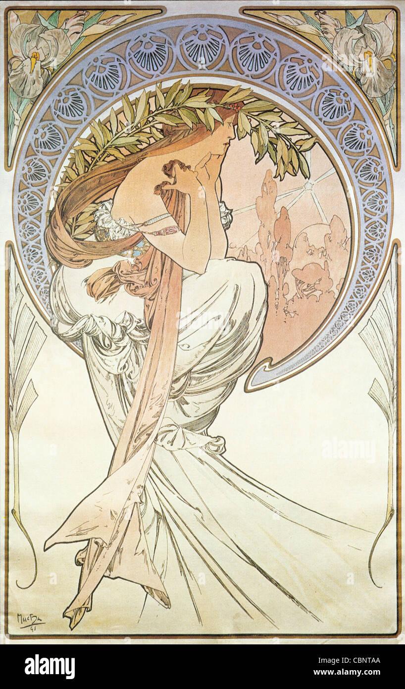Alphonse Mucha poesia Immagini Stock