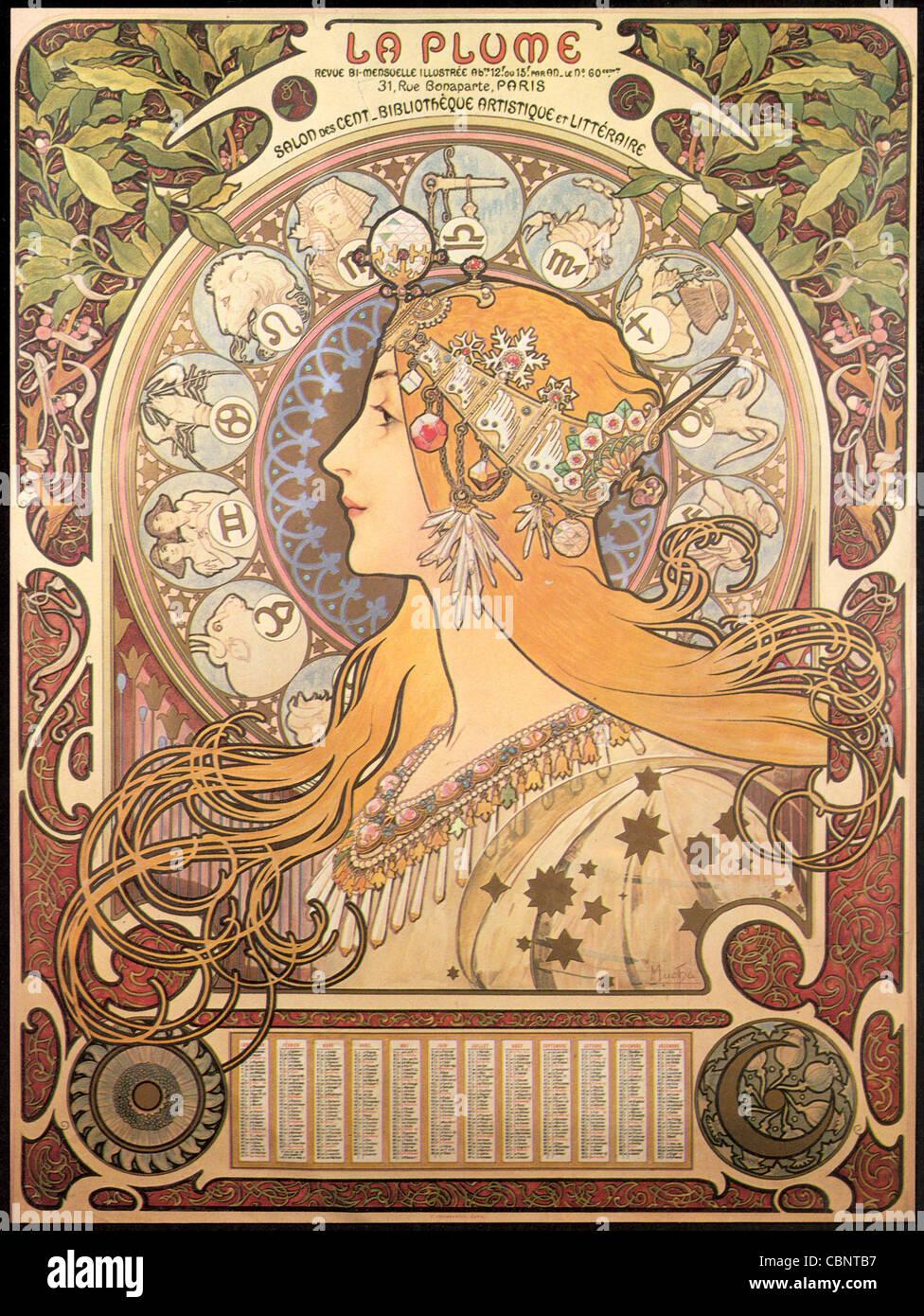 Alphonse Mucha zodiaco Immagini Stock