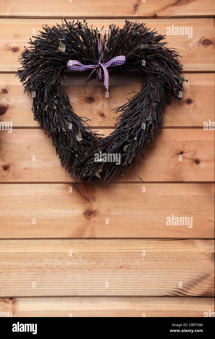 A forma di cuore ad ghirlanda, bagno Mercatino di Natale, Inghilterra Immagini Stock