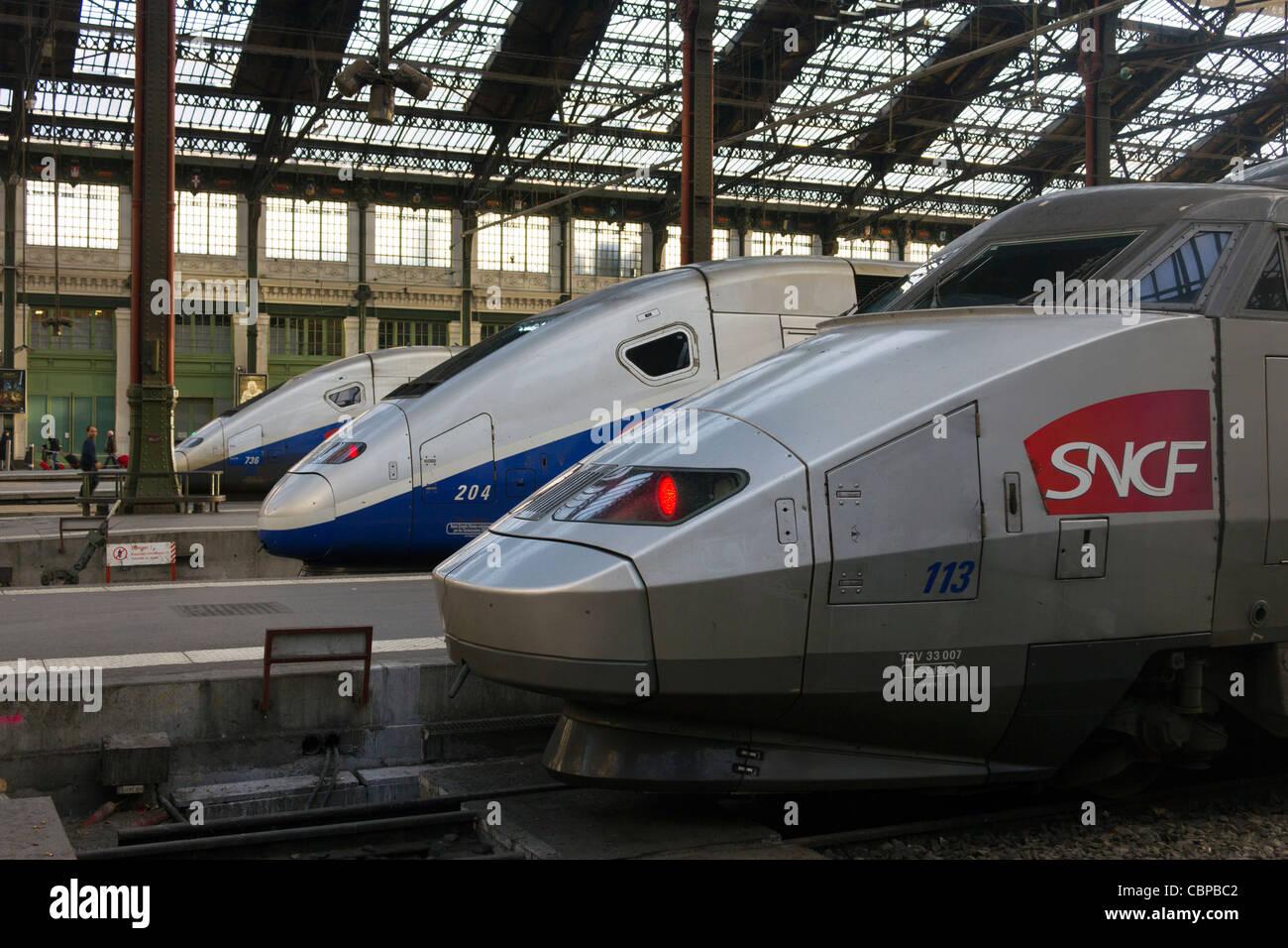 SNCF TGV Sud-Est, Gare de Lyon, Parigi, Francia Immagini Stock