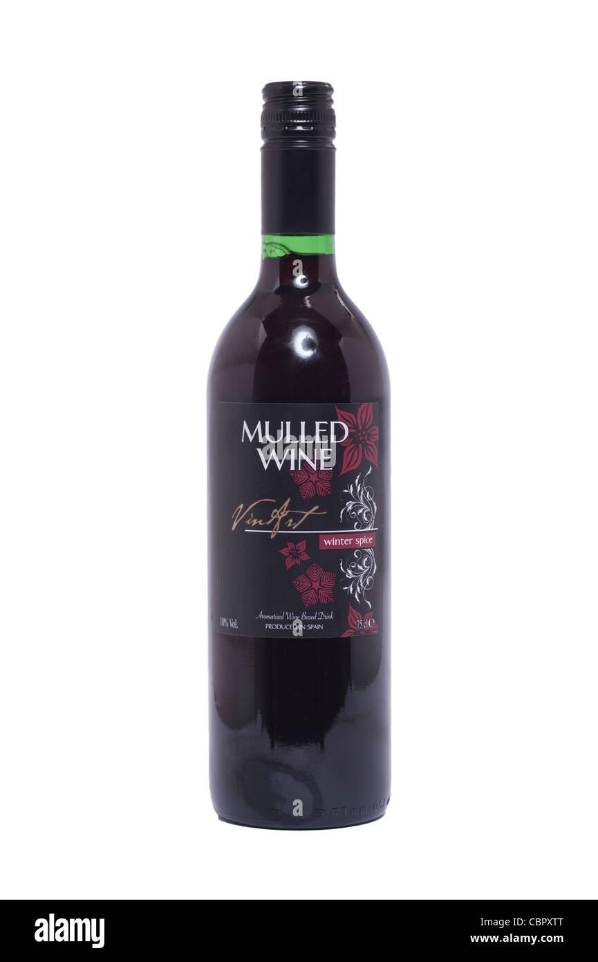Una bottiglia di vino brulé su sfondo bianco Immagini Stock