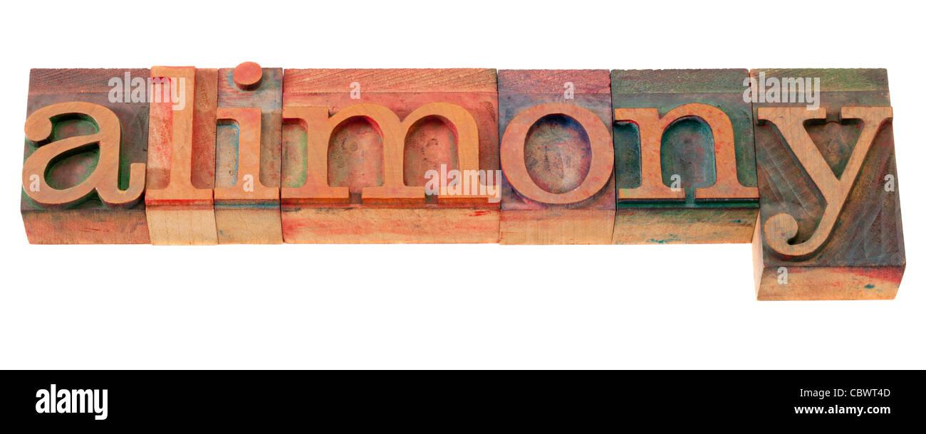 Alimony word in legno vintage tipografia blocchi, macchiata di inchiostri a colori, isolato su bianco Immagini Stock