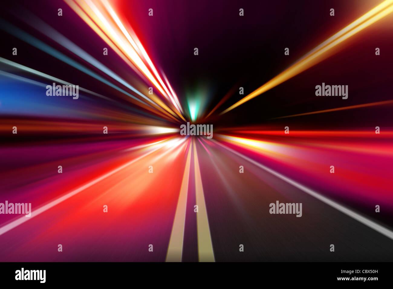 Notte astratta di accelerazione del movimento di velocità Immagini Stock