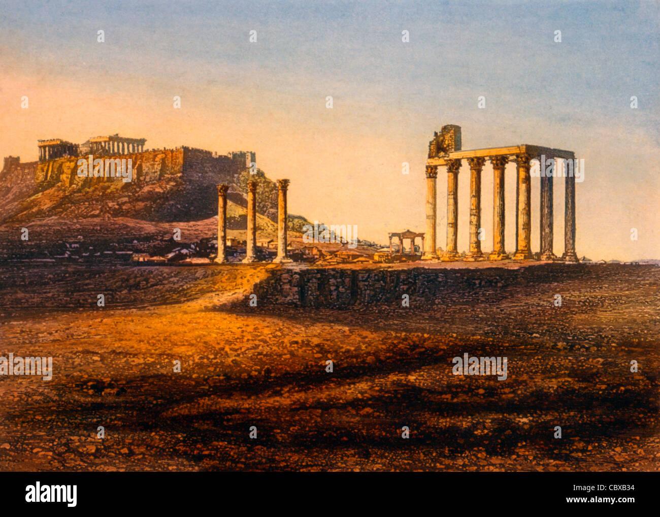 Vista dell'Acropoli di Atene, Grecia, circa1842 Immagini Stock