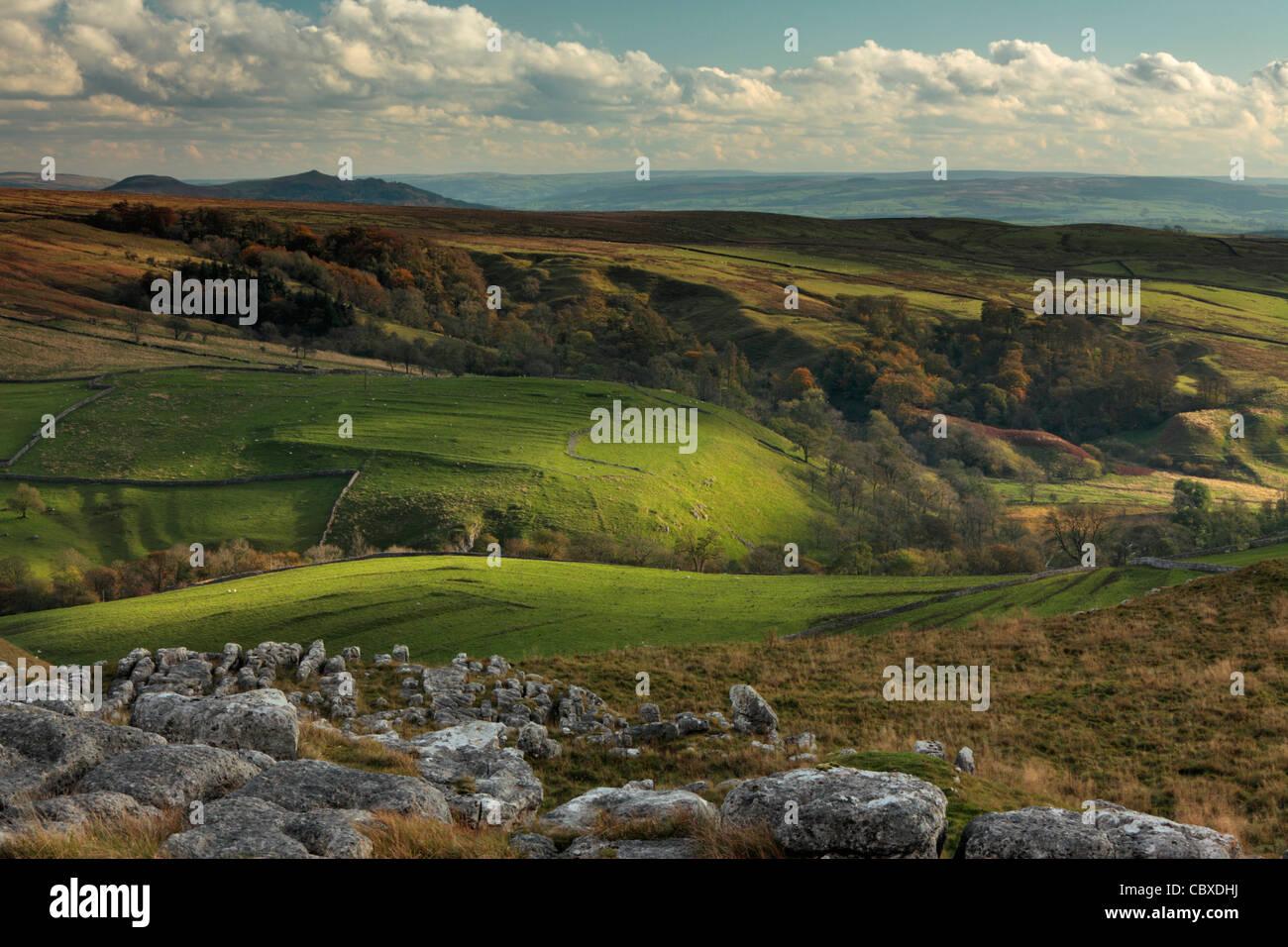 Luce della Sera sulla bellissima e aspro paesaggio di Malhamdale, nello Yorkshire, Inghilterra Immagini Stock
