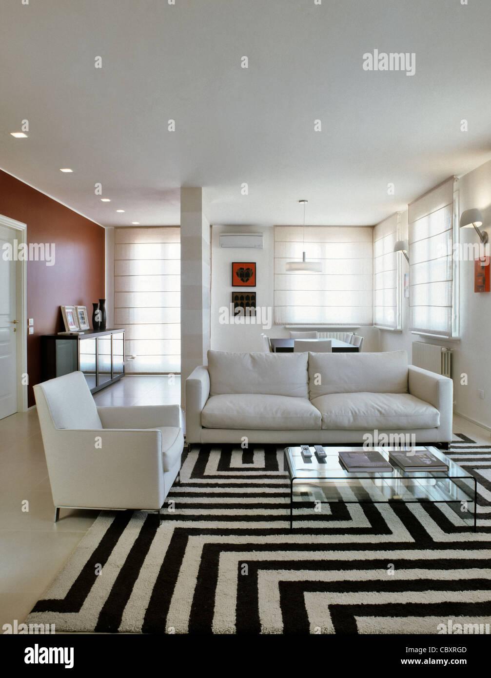 Divani bianchi e in bianco e nero di tappeti per un soggiorno ...