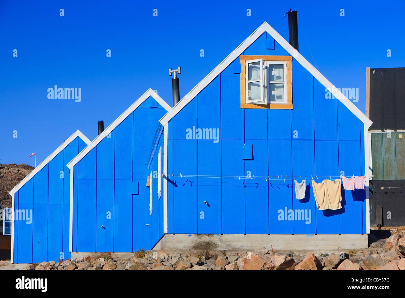 Villaggio di Ittoqqortoormiit, Scoresbysund, costa orientale Groenlandia Immagini Stock
