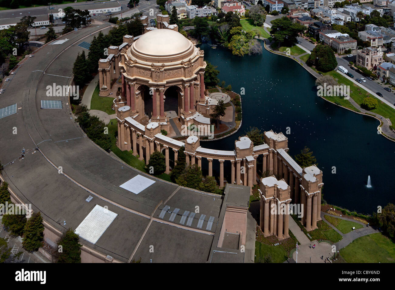 Fotografia aerea del Palazzo delle Belle Arti, San Francisco, California Immagini Stock