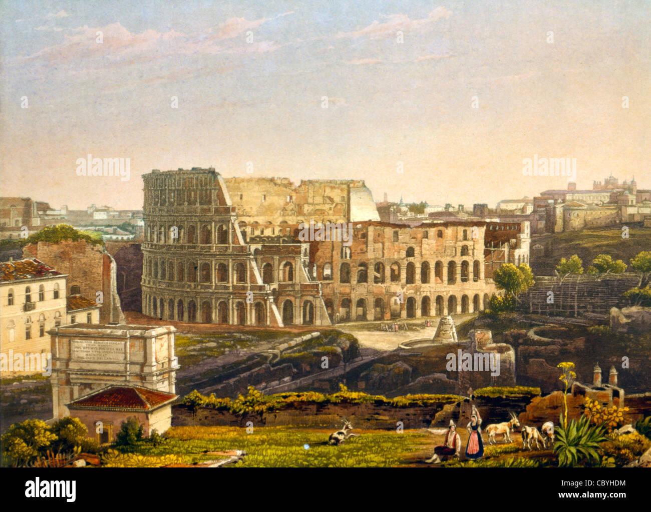 Vista del Colosseo, Roma, Italia. Le Colisee a Roma! Circa 1842 Immagini Stock