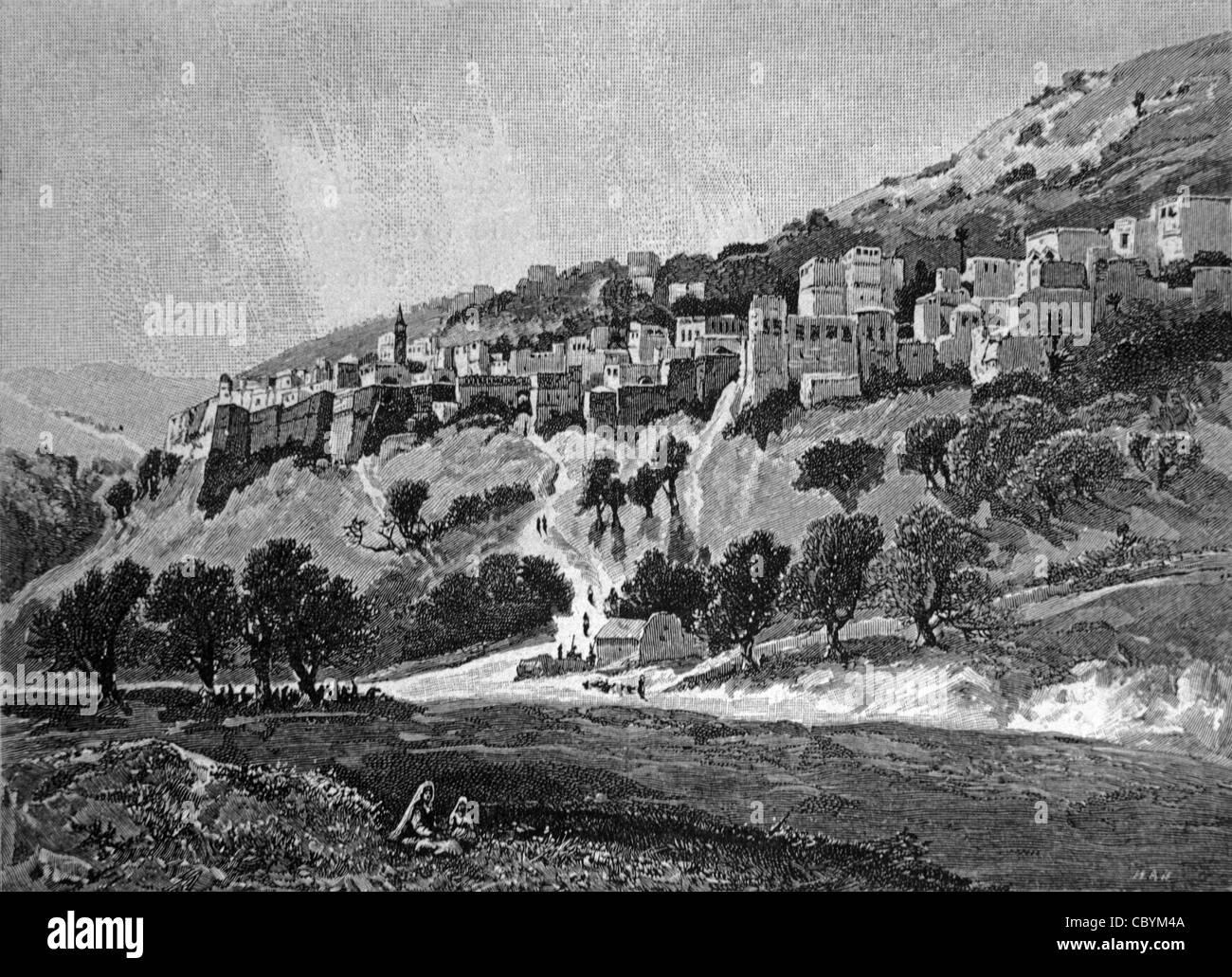 Nazaret Israele, c incisione del XIX secolo Immagini Stock