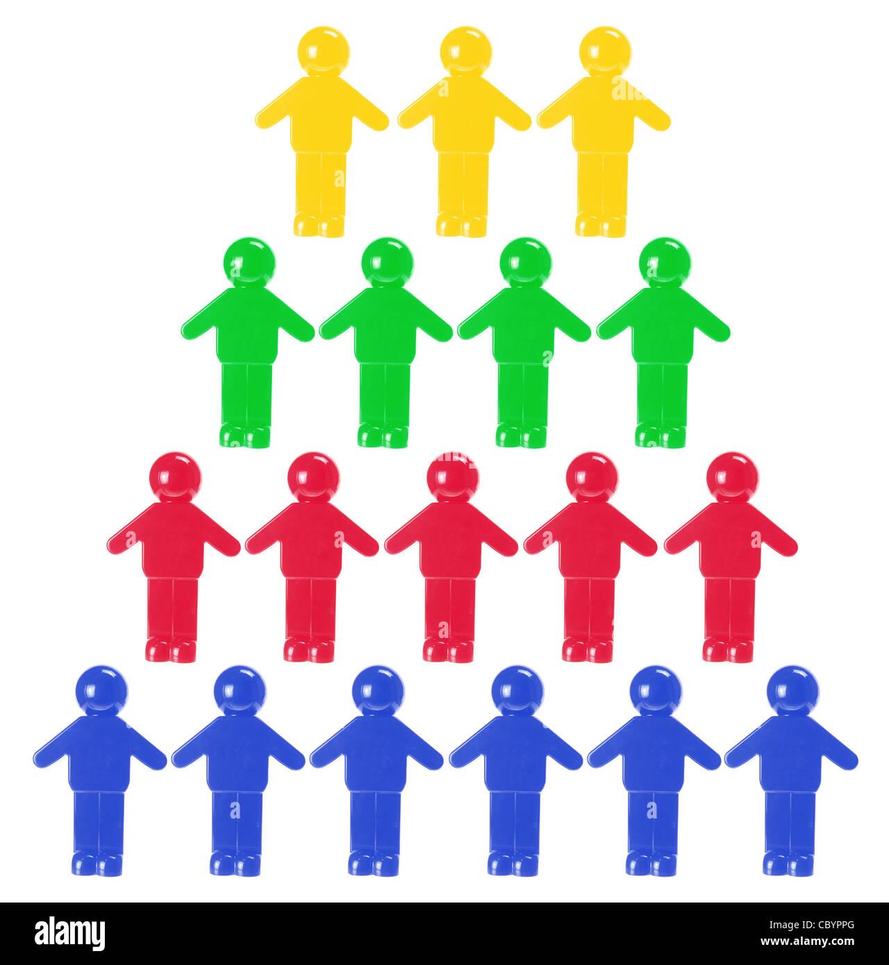 Concetto di lavoro di squadra in plastica con figure in miniatura Immagini Stock