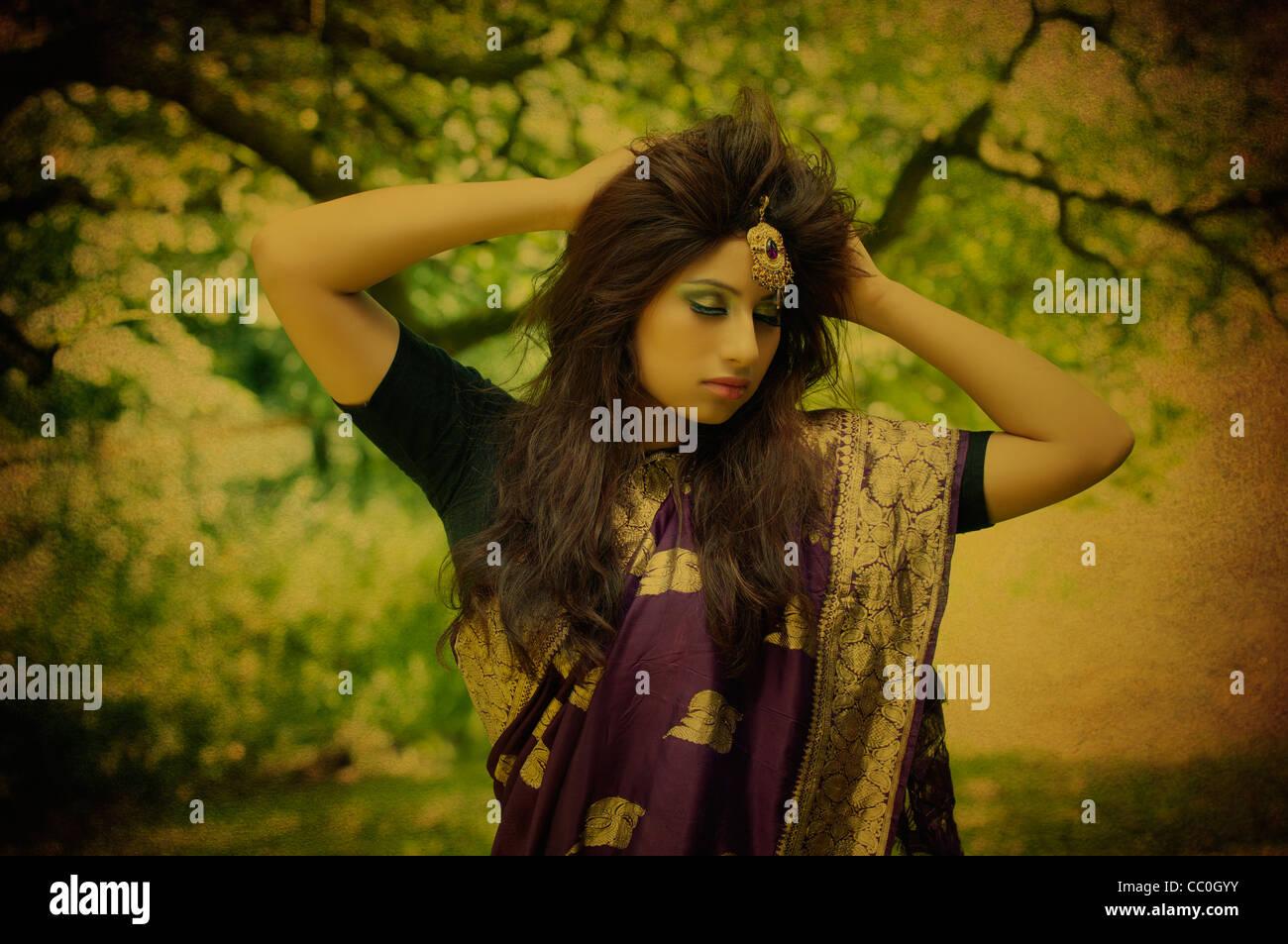 Bella giovane donna asiatica in Saree Immagini Stock