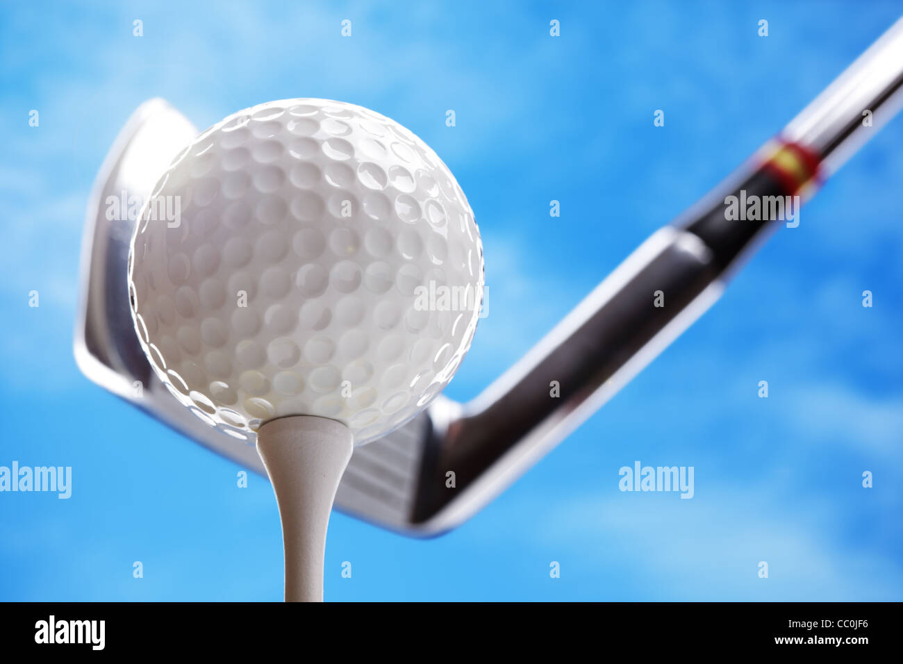 La pallina da golf e club Immagini Stock
