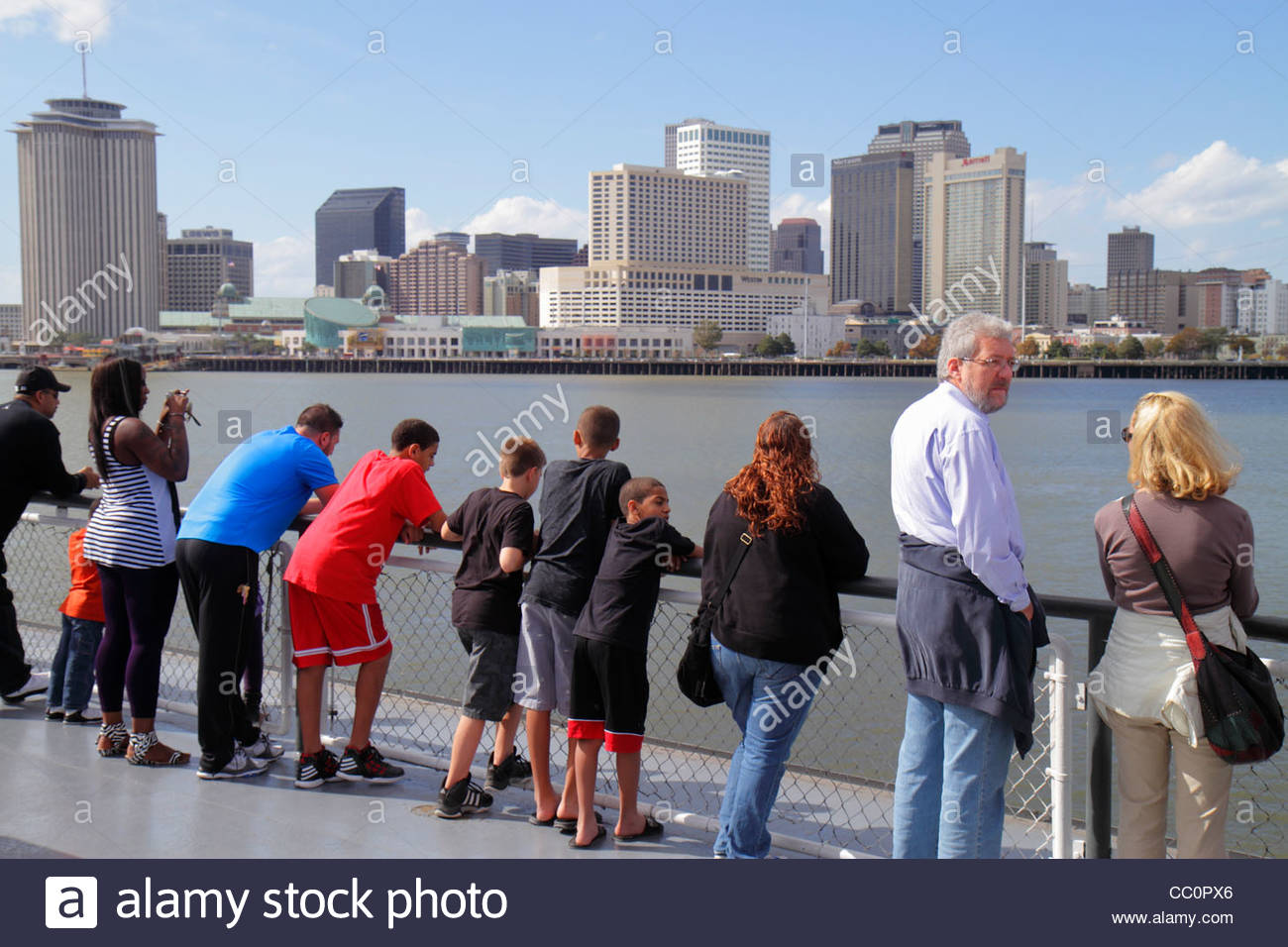 New Orleans in Louisiana Mississippi River Algeri Canal Street Ferry CCCD navigazione del traghetto trasporto pubblico Immagini Stock