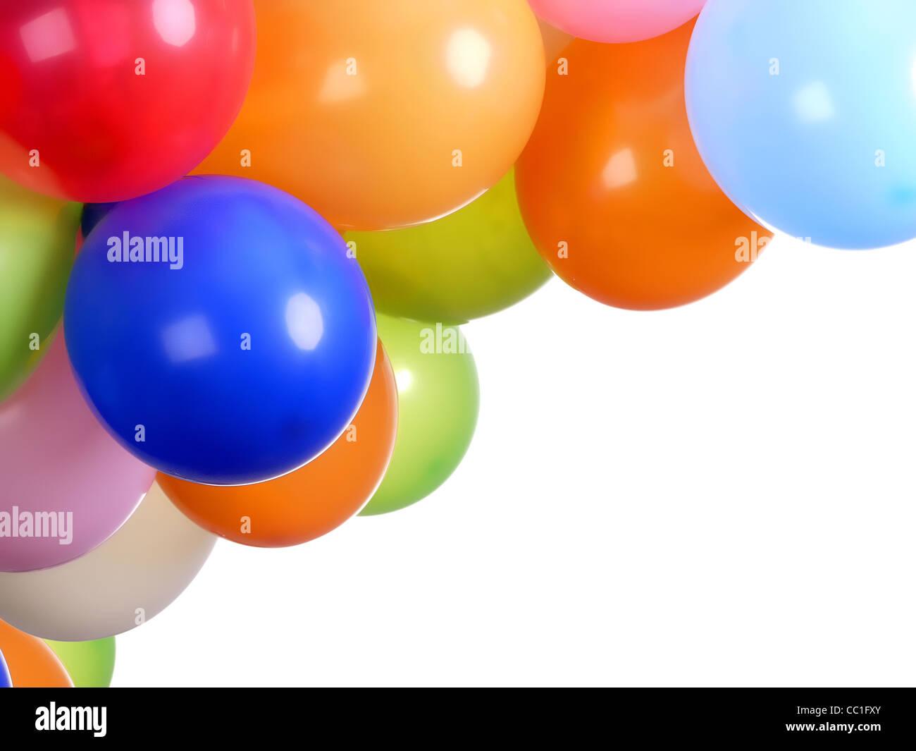 Parte colorata di palloncini con bianco spazio di copia Immagini Stock