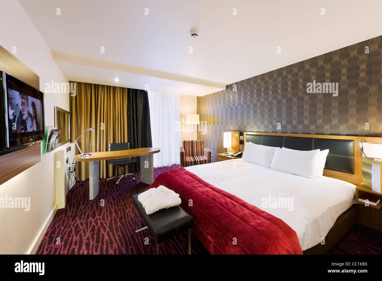 Camera Executive al Holiday Inn, Media City, Salford Quays, Manchester, Regno Unito Immagini Stock