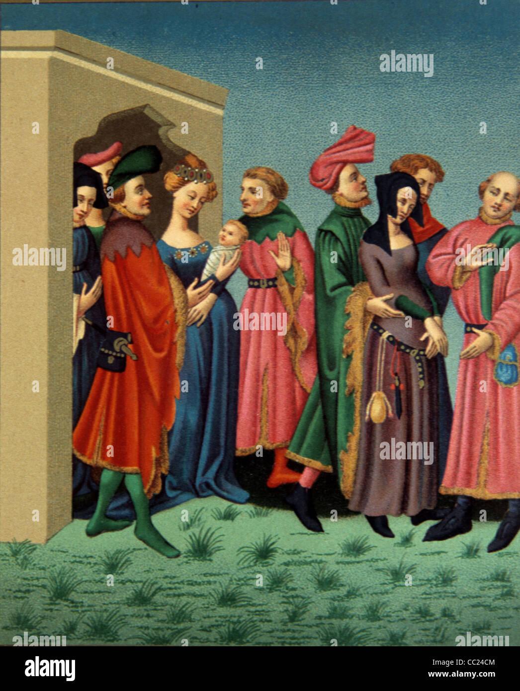 Giovane madre aristocratica presenta il suo neonato, corteo vestito in costume medievale, Parigi. c xiv miniatura. Immagini Stock